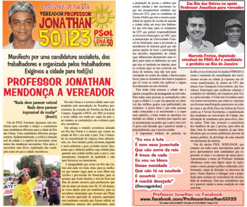 Em defesa da Educação Pública de qualidade e dos servidores públicos, Professor Jonathan 50123!!!