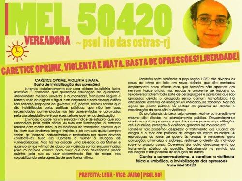 Contra a caretice e a opressão em Rio das Ostras: Mel 50420!